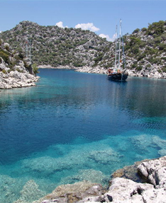 sailing mediterranean coast in Turkey