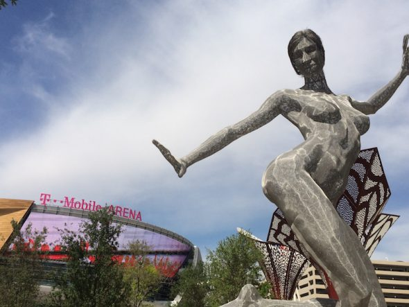 Artworks at Toshiba Park lead to the new T-Mobile arena complex